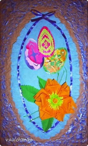 Давно готовилась для Праздника Пасхи  сделать панно,   На одном дыхании создавалась эта работа! Идея Люды ( Likmiass ) с цветочком-оригами  - просто чудо!  фото 1