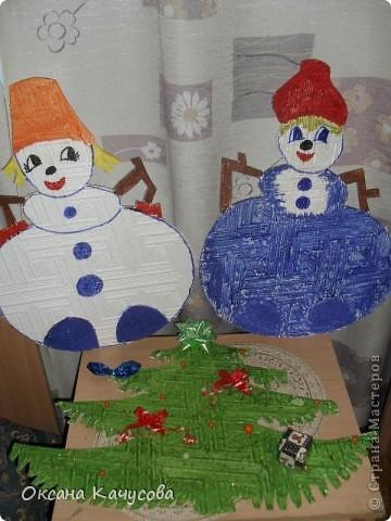 вот такие красивые снеговики получились из потолочной плитки! фото 1