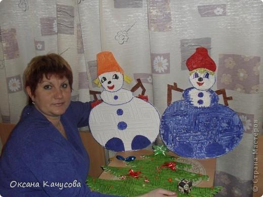 вот такие красивые снеговики получились из потолочной плитки! фото 3