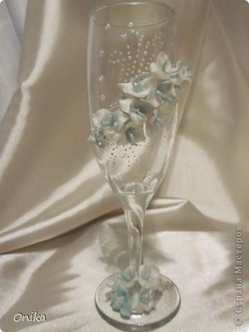 """Свадебные бокалы """"Небесные цветы"""" фото 1"""