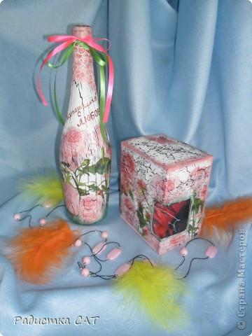 Декорировала бутылку и подарочную коробочку фото 1