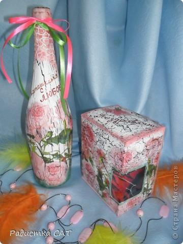 Декорировала бутылку и подарочную коробочку фото 2