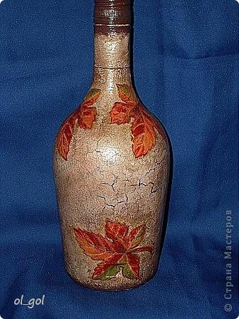 Ну вот ещё одна бутылочка.Хотелось сделать её старенькой и потёртой.Типа глиняной. фото 2