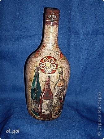 Ну вот ещё одна бутылочка.Хотелось сделать её старенькой и потёртой.Типа глиняной. фото 1