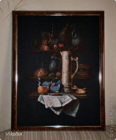 """Представляю вам очередную работу от фирмы """"Риолис"""" - """"Натюрморт с трубкой"""",  набор №947, нитки - шерсть/акрил, 19 цветов, выполнен крестом в 2 и в 1 нитку,  размер готовой работы 30х40 см (152х198 кл.), художник Елена Поглазова. фото 1"""