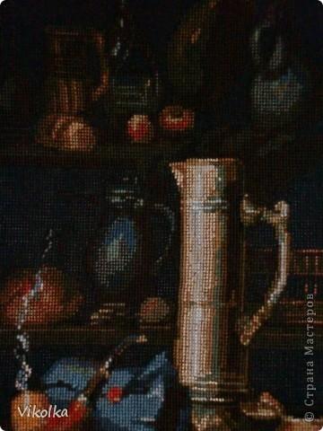 """Представляю вам очередную работу от фирмы """"Риолис"""" - """"Натюрморт с трубкой"""",  набор №947, нитки - шерсть/акрил, 19 цветов, выполнен крестом в 2 и в 1 нитку,  размер готовой работы 30х40 см (152х198 кл.), художник Елена Поглазова. фото 4"""
