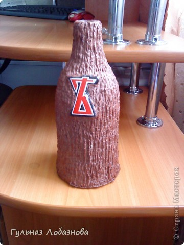 Бутылка из папье маше фото 1