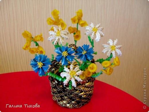 Корзинка с цветами из макарон. Мастер-класс. фото 11