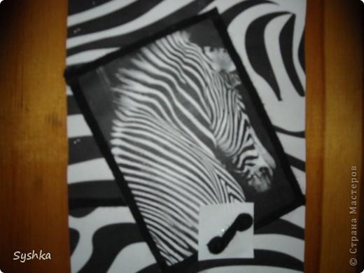 Вот такую открытку я сделала. Зебра была просто распечатана и украшена лентой. фото 1