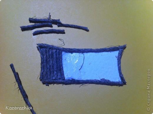 Первая открыточка: бумага из детской серии, салфетка, затонированная зеленым цветом, вощеная нить, два вида тесьмы, бордюрный дырокол, сезаль, стразина в виде сердца, пудра и фен для эмбоссинга.  фото 4