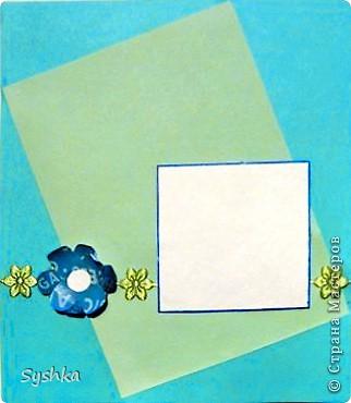 Вот моя вторая открыточка. Большой прямоугольник - произведение Бетховена, маленький прямоугольник - сам Бетховен. Цветок сделан из фольги, вместо ленточки настоящей - нарисованная. фото 2