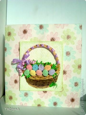 Небольшая подготовка к одному из мох самых любимых праздников, весеннему, светлому и такому радостному!!!!!! Идею открыточки с корзиной яиц не моя как-то давно видела на просторах интернета и так она мне понравилась, что решила сделать и себе разноцветных яичек, конечно, модернизировав. фото 1