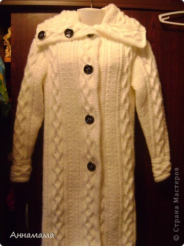 Пальто без подкладки, с большим воротом и узором косы, размер 42  фото 1