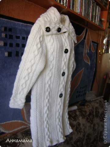 Пальто без подкладки, с большим воротом и узором косы, размер 42  фото 3