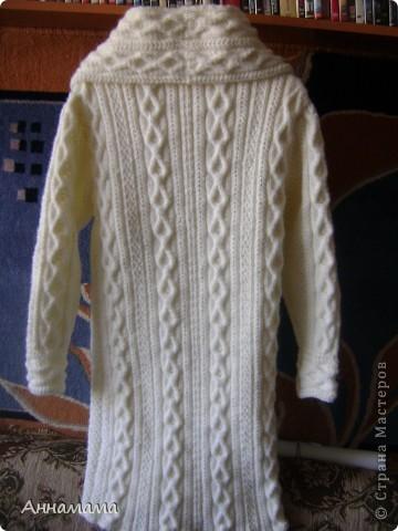 Пальто без подкладки, с большим воротом и узором косы, размер 42  фото 2
