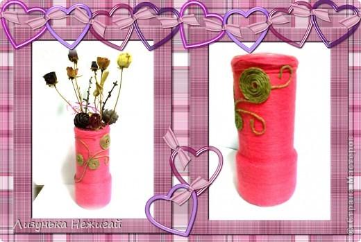Розовые нитки обмотаны вокруг стеклянной банки из-под кофе фото 1