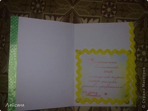Сегодня сотворила и уже подарила такую открыточку, нашла куда использовать цветы, которые налепила из самодельного холодного фарфора фото 2
