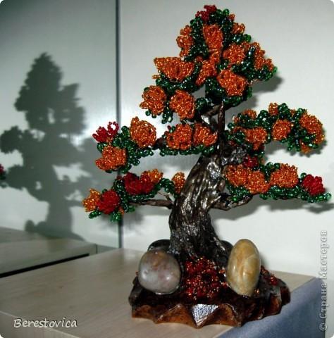 этот цветущий бонсай сделала из остатков бисера, а так же из остатков проволоки и алебастра.