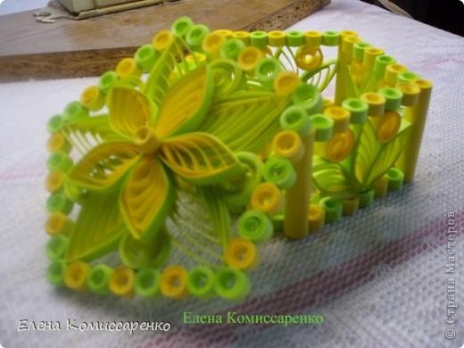 Шкатулка с цветком. Выполнена по технологии: каркас+заполнение ажурными элементами фото 4
