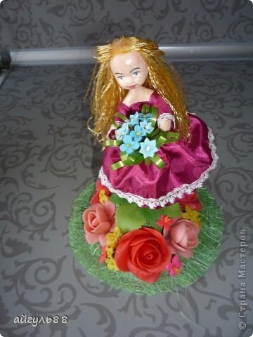 вот она моя первая кукла.....ох и намучилась я с ней...хотела слепить фею,но крылья как-то не смотрелись)))) фото 2