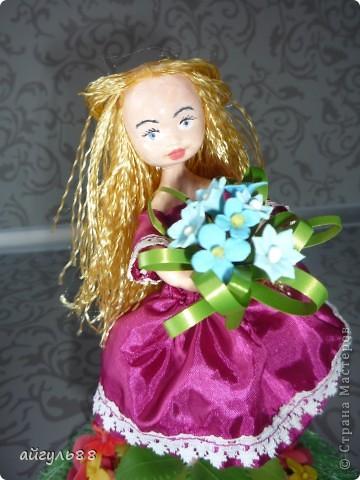 вот она моя первая кукла.....ох и намучилась я с ней...хотела слепить фею,но крылья как-то не смотрелись)))) фото 6