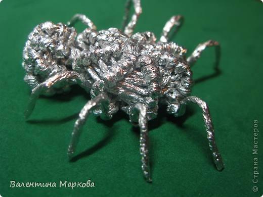 Мастер-класс Поделка изделие Плетение Паучок в серебряной паутине  мастер-класс по просьбе Фольга фото 23