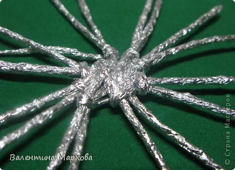Мастер-класс Поделка изделие Плетение Паучок в серебряной паутине  мастер-класс по просьбе Фольга фото 26