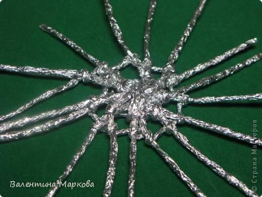 Мастер-класс Поделка изделие Плетение Паучок в серебряной паутине  мастер-класс по просьбе Фольга фото 27
