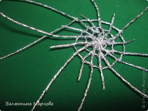Мастер-класс Поделка изделие Плетение Паучок в серебряной паутине  мастер-класс по просьбе Фольга фото 28