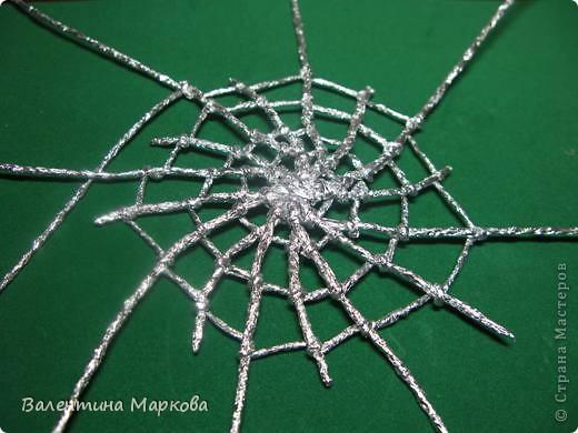 Мастер-класс Поделка изделие Плетение Паучок в серебряной паутине  мастер-класс по просьбе Фольга фото 29