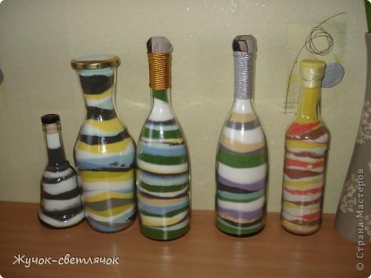 Эти бутылочки были сделаны на подарки близким. Все остались довольны. Две бутылочки еще без оформления. Когда оформила, забыла сфотографировать.