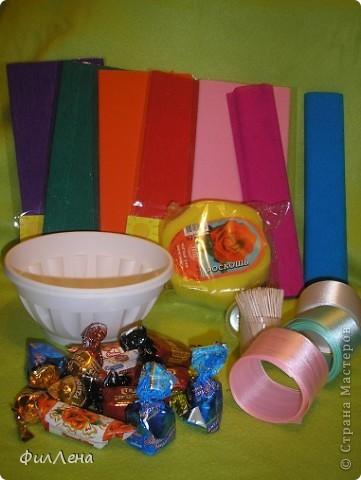 Не успевая испечь торт на день рождения племяннице, решила позаимствовать идею конфетного букетика на сайте. фото 2