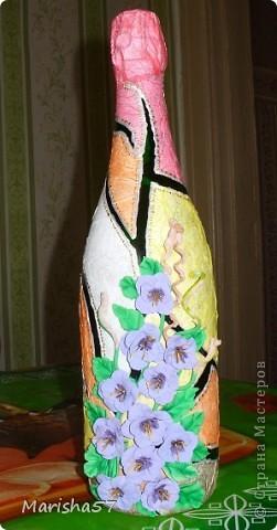 Бутылочка сделана в подарок подружке на 8 Марта (цветы крупно) фото 2