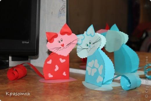 Мои котики из бумажных сердечек. фото 1