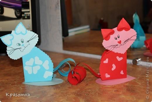 Мои котики из бумажных сердечек. фото 2