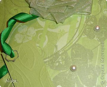Открытка учительнице, для хорошего настроения  Бумага разного качества различных оттенков зеленого,  цветок из ленты (органза)  фото 6