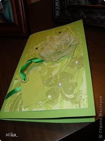 Открытка учительнице, для хорошего настроения  Бумага разного качества различных оттенков зеленого,  цветок из ленты (органза)  фото 1