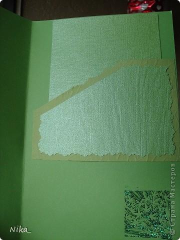 Открытка учительнице, для хорошего настроения  Бумага разного качества различных оттенков зеленого,  цветок из ленты (органза)  фото 5