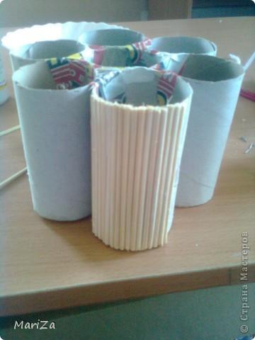 Всё, что нам понадобится, это картонные основы от рулонов туалетной бумаги, шпажки для барбекю, горох, клей, плотный картон и лак. фото 4