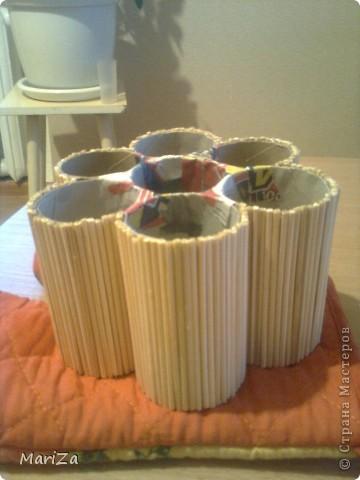 Всё, что нам понадобится, это картонные основы от рулонов туалетной бумаги, шпажки для барбекю, горох, клей, плотный картон и лак. фото 5
