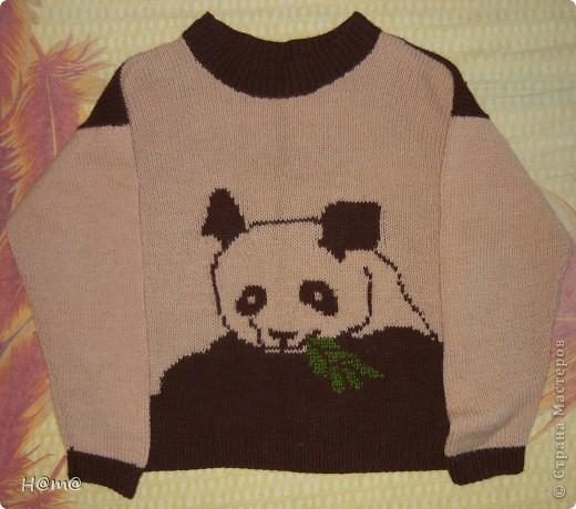 Вот такой свитер связала для сына,с необычной пандой.Просто понравились нитки,и я их купила,а как связать долго не раздумывала .Помогла картинка для вышивки,найдена на просторах инета...Связан из 2-х мотков шерсти по 400м коричневой и бежевой.
