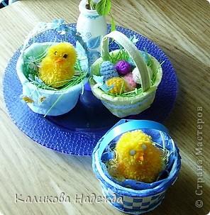 Захотелось посадить цыпляток из помпонов в корзинки. Но корзинки мне надо сделать легким способом, чтобы и ученики могли справиться с их изготовлением. фото 11