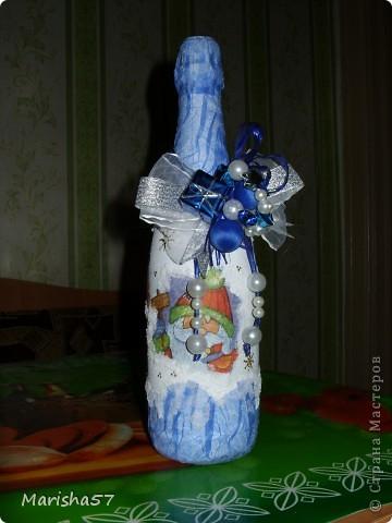 Бутылочка сделана в подарок подружке на 8 Марта (цветы крупно) фото 5