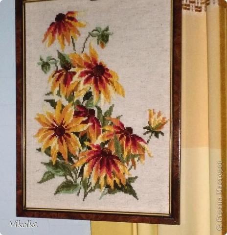 """Не знаю, почему, но цветы вышиваю редко. Это, практически, и все работы на цветочную тему. Картины  вышиты по наборам фирмы """"Риолис"""". """"Подсолнухи"""", нитки: шерсть, цветов: 15, размер: 40*40 см.     фото 3"""
