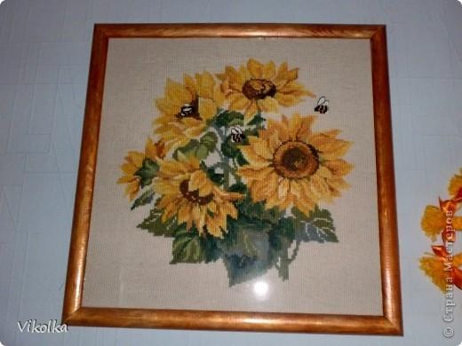 """Не знаю, почему, но цветы вышиваю редко. Это, практически, и все работы на цветочную тему. Картины  вышиты по наборам фирмы """"Риолис"""". """"Подсолнухи"""", нитки: шерсть, цветов: 15, размер: 40*40 см.     фото 1"""