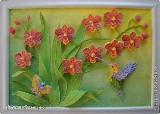 Картина панно рисунок День рождения Квиллинг Орхидеи Бумага Бумага гофрированная Бумажные полосы Бусины Пастель Проволока фото 8