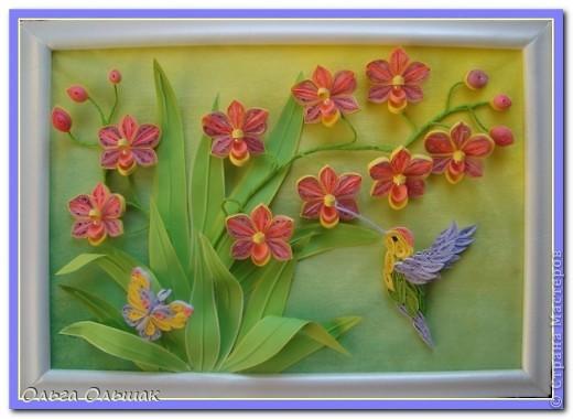 Картина панно рисунок День рождения Квиллинг Орхидеи Бумага Бумага гофрированная Бумажные полосы Бусины Пастель Проволока фото 9