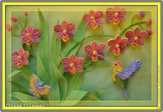 Картина панно рисунок День рождения Квиллинг Орхидеи Бумага Бумага гофрированная Бумажные полосы Бусины Пастель Проволока фото 1