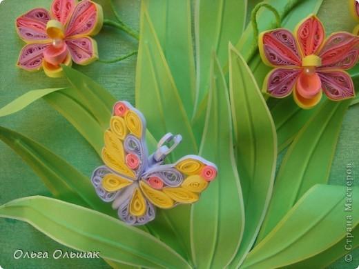 Картина панно рисунок День рождения Квиллинг Орхидеи Бумага Бумага гофрированная Бумажные полосы Бусины Пастель Проволока фото 6
