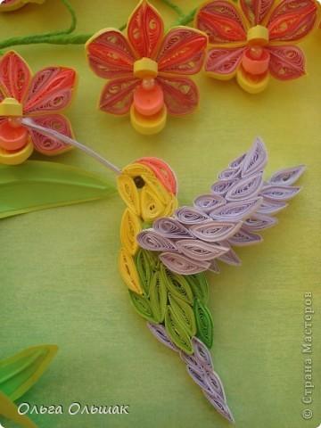 Картина панно рисунок День рождения Квиллинг Орхидеи Бумага Бумага гофрированная Бумажные полосы Бусины Пастель Проволока фото 7